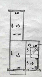 Продам 2-х комнатную квартиру близко к центру